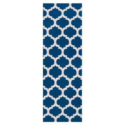 Ash Hand-Woven Mediterranean Blue/Winter White Area Rug Rug Size: Runner 26 x 8