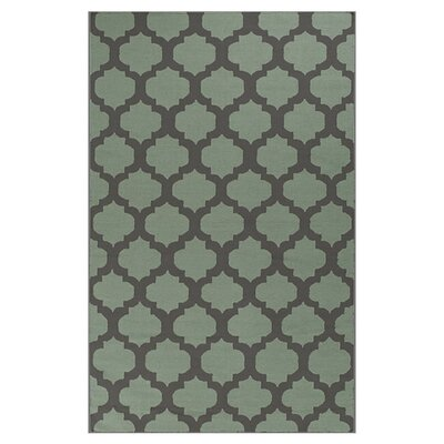 Carlton Hand-Woven Charcoal Gray/Pale Green Area Rug Rug Size: 36 x 56
