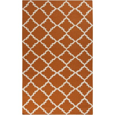 Hackbarth Hand-Woven Burnt Orange Area Rug Rug Size: 9 x 13