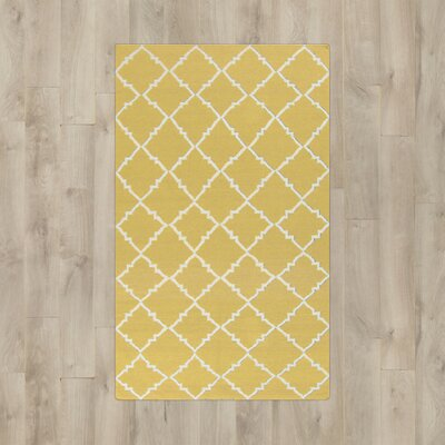 Hackbarth Hand-Woven Wool Gold Area Rug Rug Size: 36 x 56