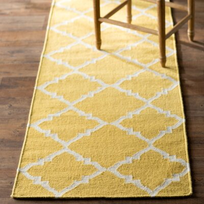 Hackbarth Hand-Woven Wool Gold Area Rug Rug Size: 9 x 13