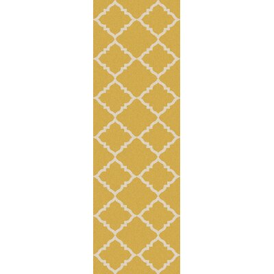 Hackbarth Hand-Woven Wool Gold Area Rug Rug Size: Runner 26 x 8