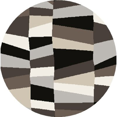 Carlotta Charcoal Gray/Misty White Area Rug Rug Size: Round 8