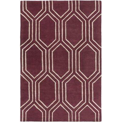 Camlin Burgundy/Light Gray Area Rug Rug Size: 3'3