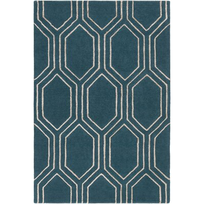Camlin Hand-Tufted Teal/Camel Area Rug Rug size: Rectangle 33 x 53