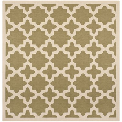 Fredricks Green/Beige Indoor/Outdoor Area Rug Rug Size: Square 4