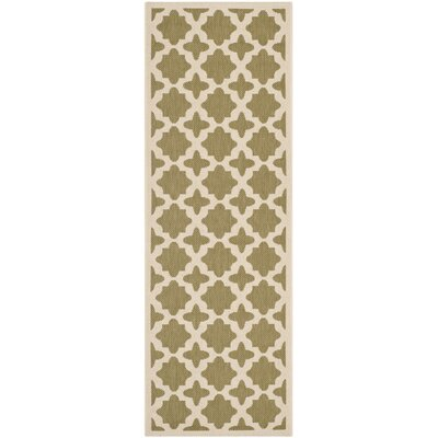 Fredricks Green/Beige Indoor/Outdoor Area Rug Rug Size: Rectangle 27 x 5