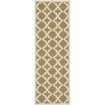 Fredricks Green/Beige Indoor/Outdoor Area Rug Rug Size: Runner 23 x 67