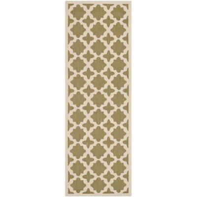 Plano Green/Beige Indoor/Outdoor Area Rug Rug Size: Runner 27 x 5