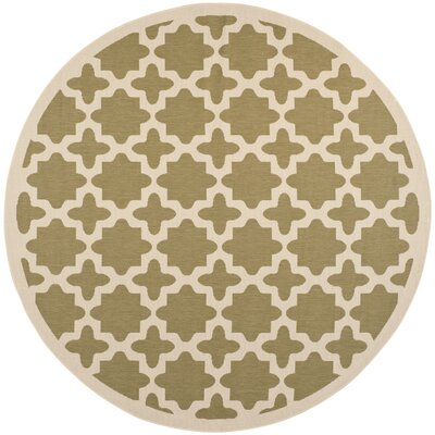 Fredricks Green/Beige Indoor/Outdoor Area Rug Rug Size: Round 710