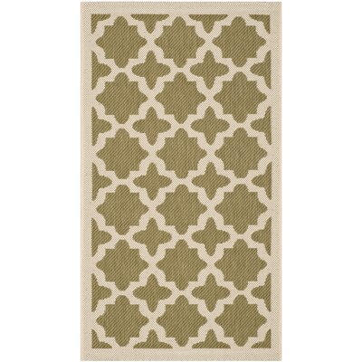 Fredricks Green/Beige Indoor/Outdoor Area Rug Rug Size: Rectangle 4 x 57