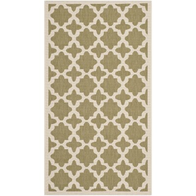 Fredricks Green/Beige Indoor/Outdoor Area Rug Rug Size: Rectangle 53 x 77