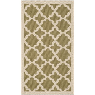 Plano Green/Beige Indoor/Outdoor Area Rug Rug Size: 4 x 57
