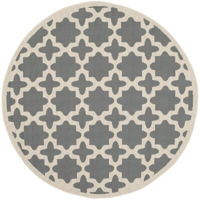 Fredricks Anthracite & Beige Indoor/Outdoor Area Rug Rug Size: Round 4