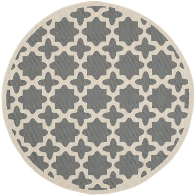 Plano Anthracite & Beige Indoor/Outdoor Area Rug Rug Size: Round 710