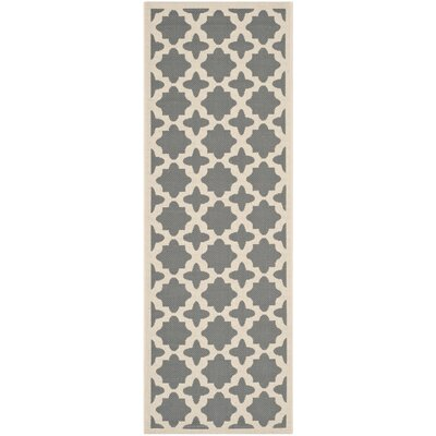 Fredricks Anthracite & Beige Indoor/Outdoor Area Rug Rug Size: Runner 23 x 12