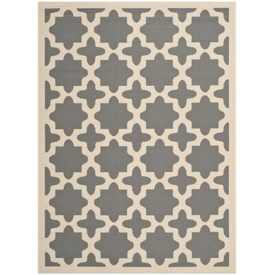 Fredricks Anthracite & Beige Indoor/Outdoor Area Rug Rug Size: 53 x 77