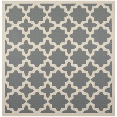 Fredricks Anthracite & Beige Indoor/Outdoor Area Rug Rug Size: Square 67
