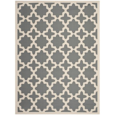 Fredricks Anthracite & Beige Indoor/Outdoor Area Rug Rug Size: 9 x 12