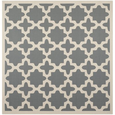 Fredricks Anthracite & Beige Indoor/Outdoor Area Rug Rug Size: Square 4