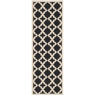 Plano Black/Beige Outdoor Area Rug I Rug Size: Runner 23 x 67