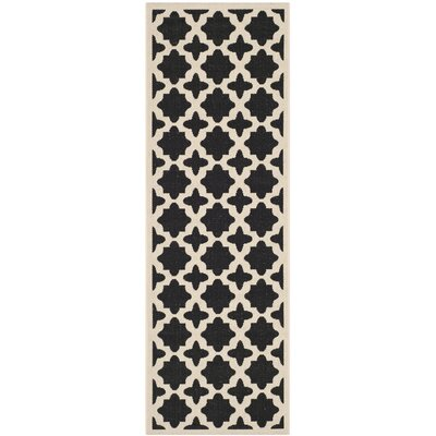 Plano Black/Beige Outdoor Area Rug I Rug Size: Runner 27 x 5