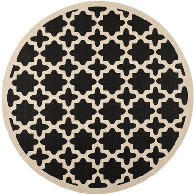 Plano Black/Beige Outdoor Area Rug I Rug Size: Round 53