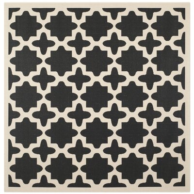 Fredricks Black/Beige Outdoor Area Rug Rug Size: Square 4