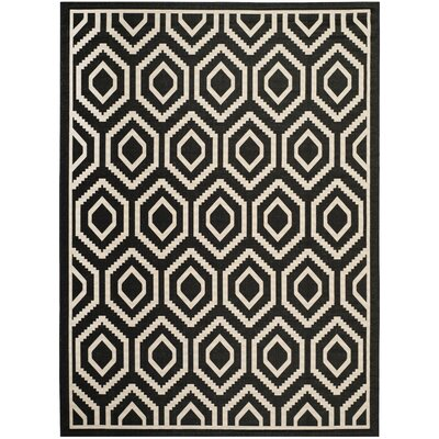 Catharine Black/Beige Outdoor Rug Rug Size: Rectangle 9 x 12