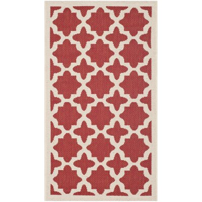 Plano Red & Bone Indoor/Outdoor Area Rug Rug Size: 2 x 37