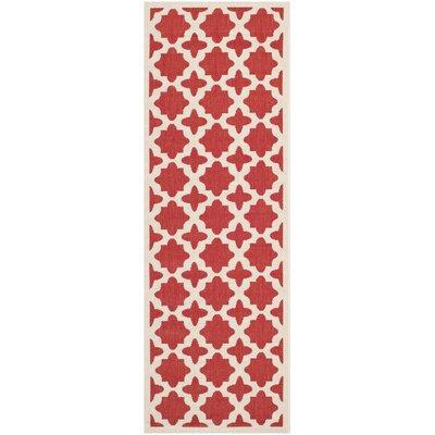 Plano Red & Bone Indoor/Outdoor Area Rug Rug Size: Runner 23 x 67
