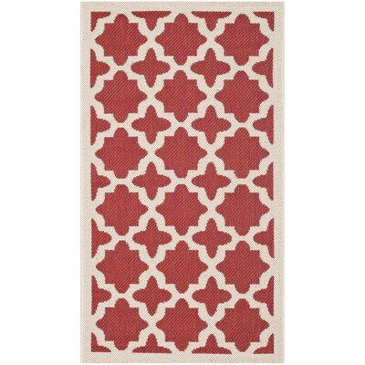 Plano Red & Bone Indoor/Outdoor Area Rug Rug Size: 4' x 5'7