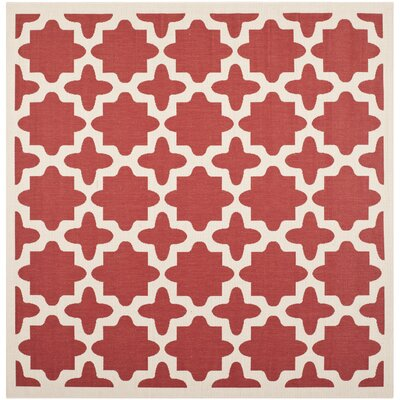 Fredricks Red & Bone Indoor/Outdoor Area Rug Rug Size: Square 4'