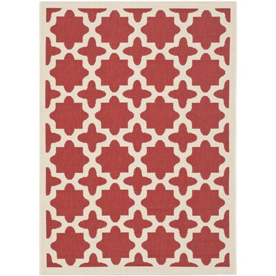 Plano Red & Bone Indoor/Outdoor Area Rug Rug Size: 53 x 77