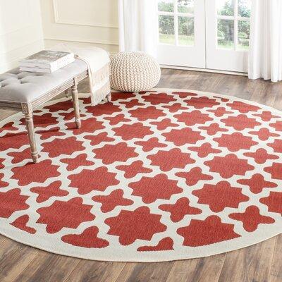 Plano Red & Bone Indoor/Outdoor Area Rug Rug Size: Round 710