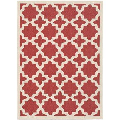 Plano Red & Bone Indoor/Outdoor Area Rug Rug Size: 9 x 12