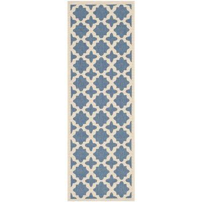 Plano Blue/Beige Outdoor Area Rug Rug Size: Runner 23 x 10