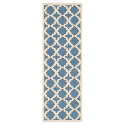 Plano Blue/Beige Outdoor Area Rug Rug Size: Runner 23 x 8