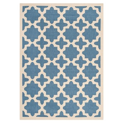 Fredricks Blue/Beige Outdoor Area Rug Rug Size: Rectangle 4' x 5'7