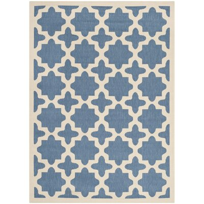 Fredricks Blue/Beige Outdoor Area Rug Rug Size: 67 x 96