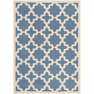 Plano Blue/Beige Outdoor Area Rug Rug Size: 8 x 11