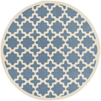 Plano Blue/Beige Outdoor Area Rug Rug Size: Round 53