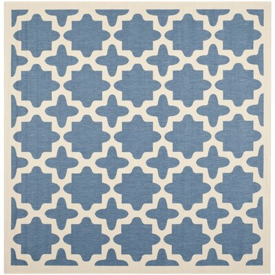 Plano Blue/Beige Outdoor Area Rug Rug Size: Square 710