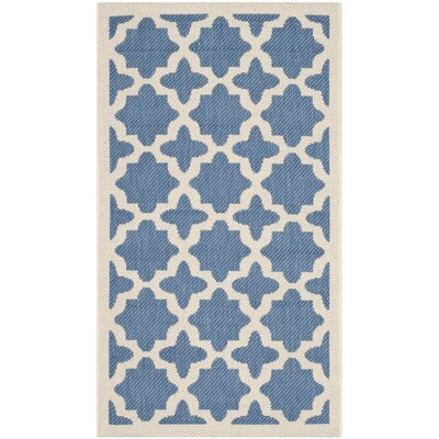 Plano Blue/Beige Outdoor Area Rug Rug Size: 2 x 37
