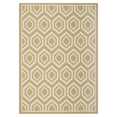 Catharine Green/Beige Outdoor Rug Rug Size: 53 x 77
