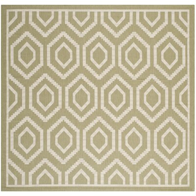 Miami Green/Beige Outdoor Rug Rug Size: Square 710