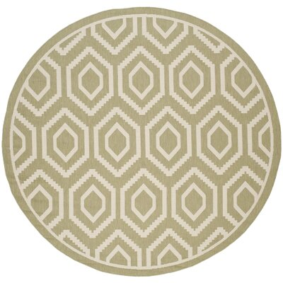 Catharine Green/Beige Indoor/Outdoor Rug Rug Size: Round 710