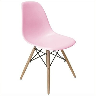 Brook Modern Solid Wood Dining Chair Finish: Pink Natural