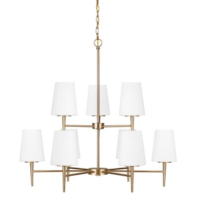 Ganador 9-Light Shaded Chandelier Finish: Satin Bronze, Bulb Type: 100W A19 Medium