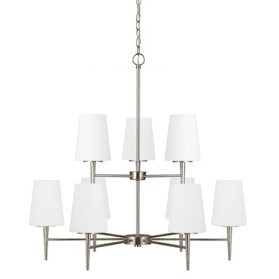Ganador 9-Light Shaded Chandelier Bulb Type: 100W A19 Medium, Finish: Brushed Nickel